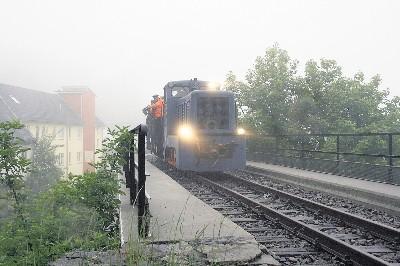 Diese Lok fuhr am Mittwoch in Schmiedeberg über den Viadukt. Es war ein Arbeitseinsatz. Leserfoto: Uwe Lehmann